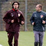 VfB Stuttgart Training Sami Khedira, Hagen Stroh (Physiotherapist VfB Stuttgart) 19.11.2008 Photo Herbert Rudel